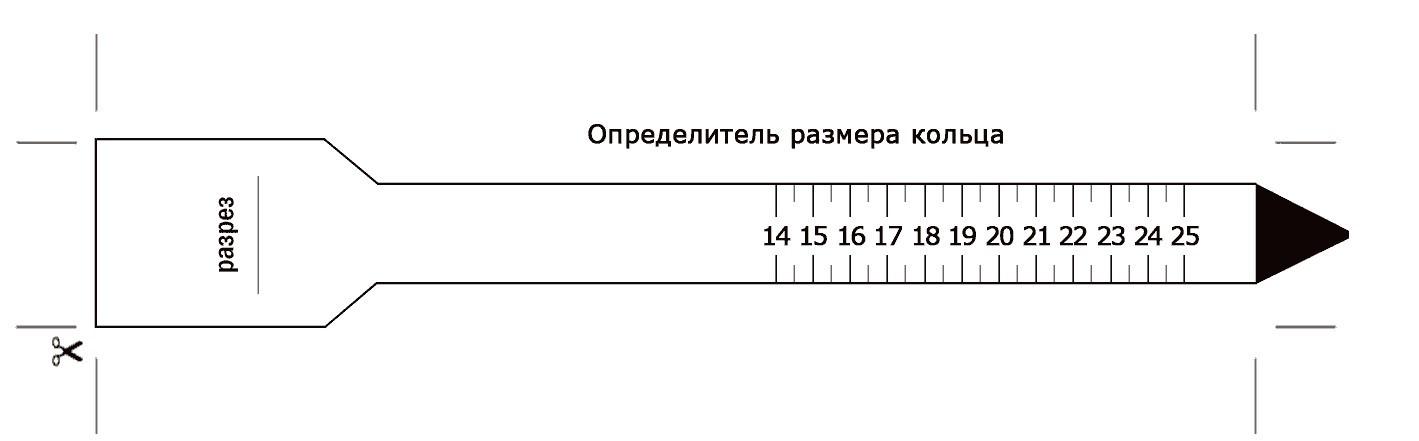 Бумажное лекало для измерения размера пальца
