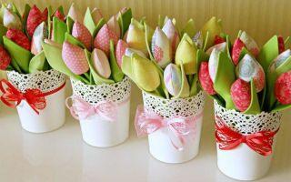 Поделка тюльпаны из бумаги своими руками — 62 фото примера оригинальных бумажных тюльпана